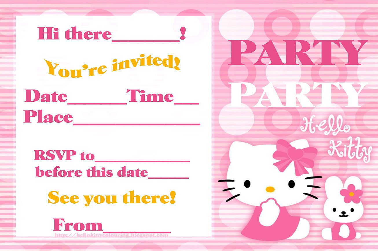Free Printable Hello Kitty Pool Party Invitations