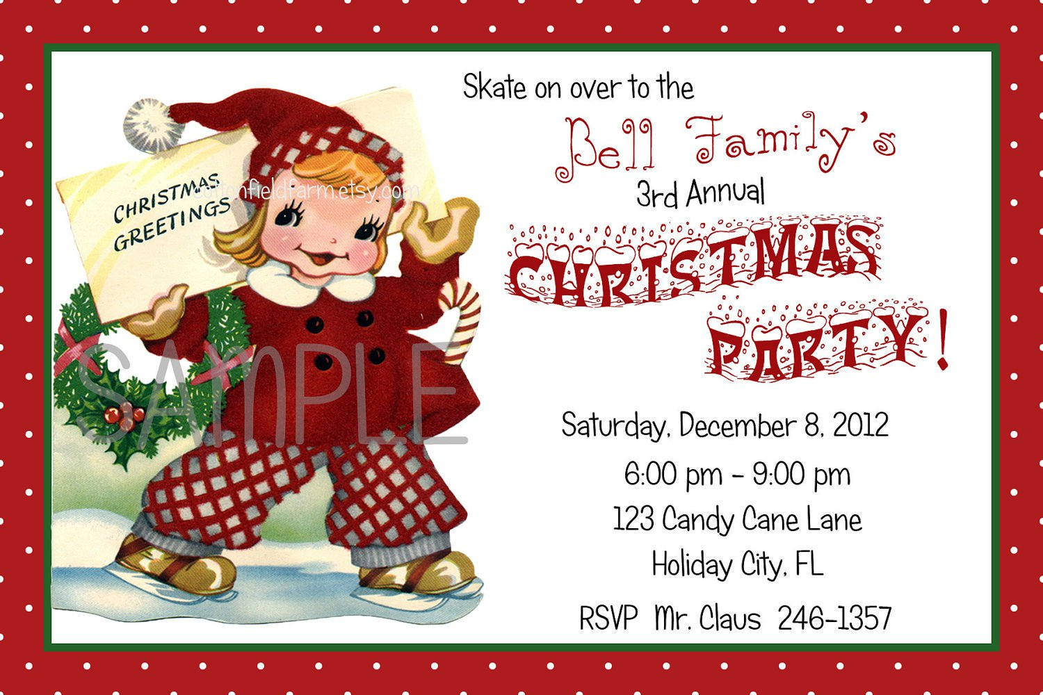 Free Printable Kids Christmas Party Invitations