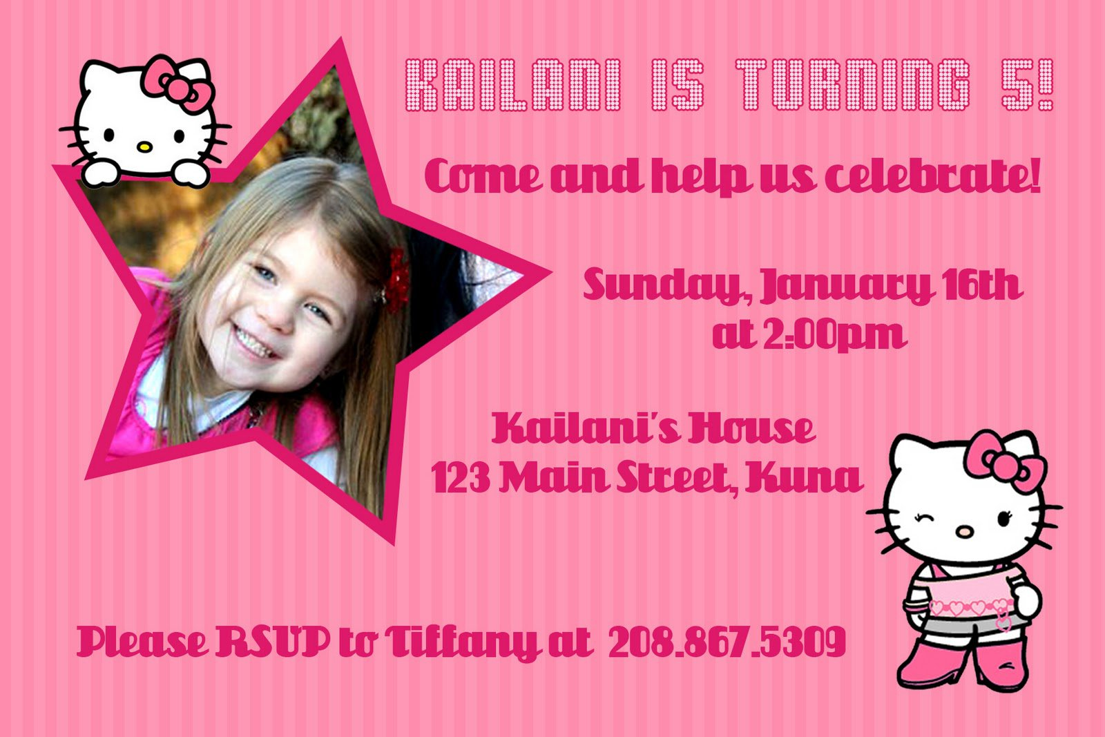 Hello Kitty 5th Birthday Invitations