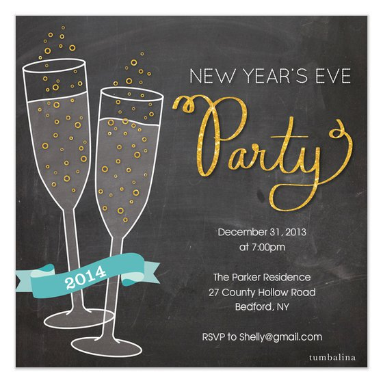 New Year Invite Champagne Party Invitations
