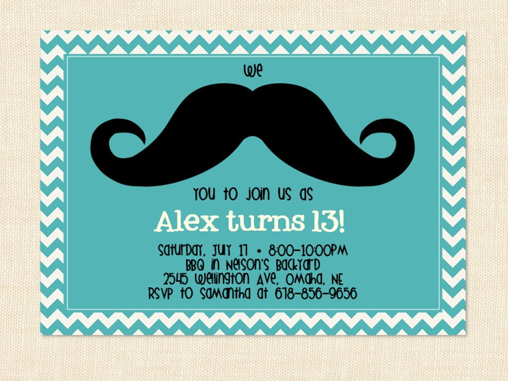 Printable Birthday Party Invitations For 13 Year Old 1