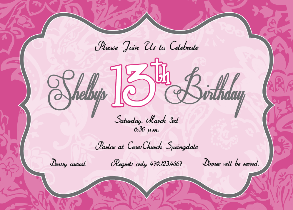 Birthday Party Invitations For 13 Year Old