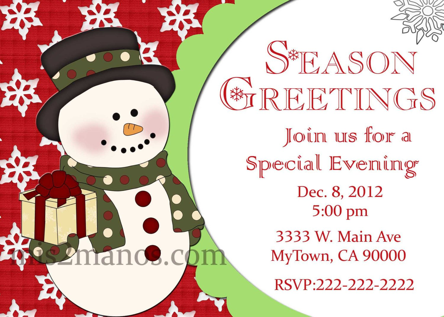Printable Childrens Christmas Party Invitations