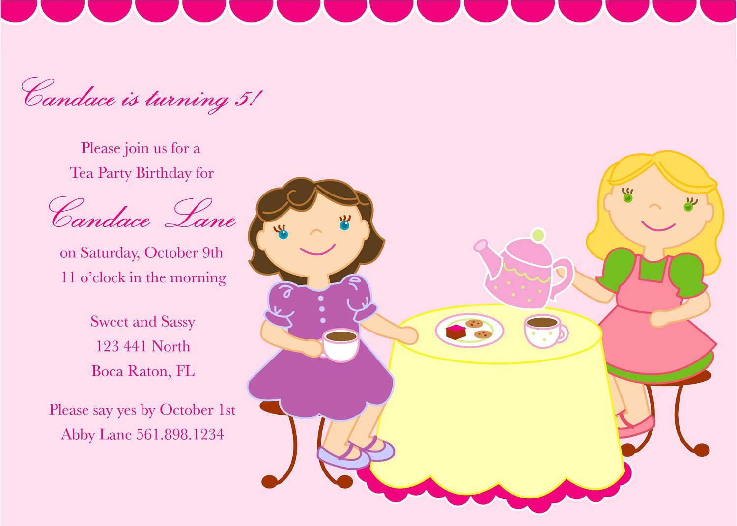 Tea Party Invitations For Little Girls – Little Girl Party Invitations