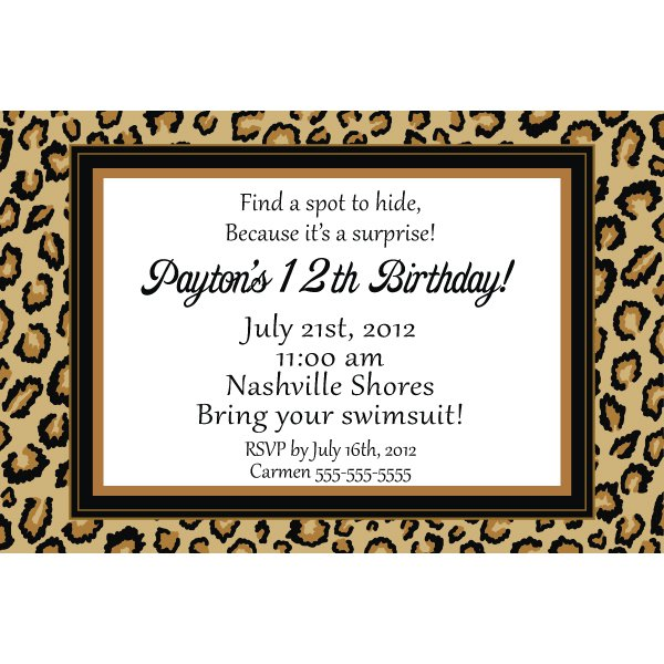 Animal print printable invitations free for Leopard print invitations templates