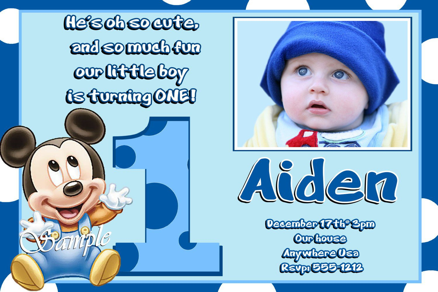 Baby Mickey Mouse Invitation Template
