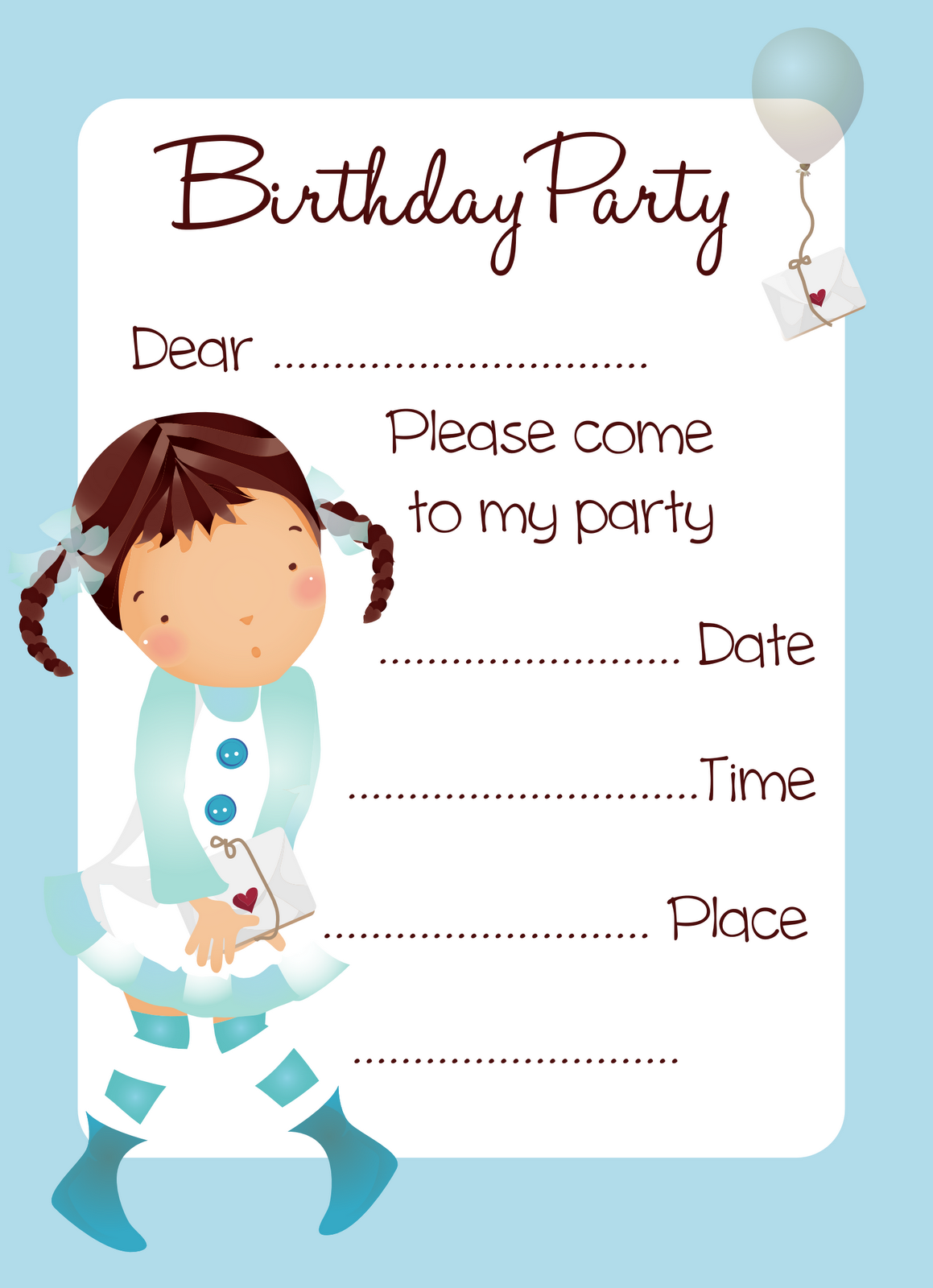 Birthday Invitation Cards Free Printable Girls