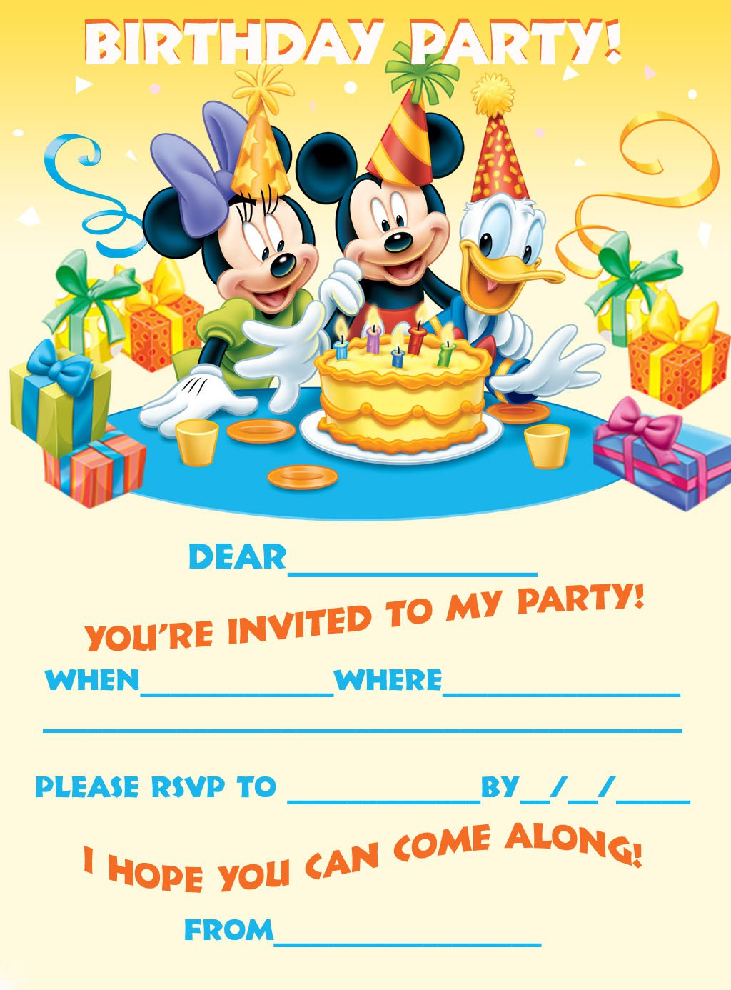 Birthday Invitations Free Printable Mickey Mouse