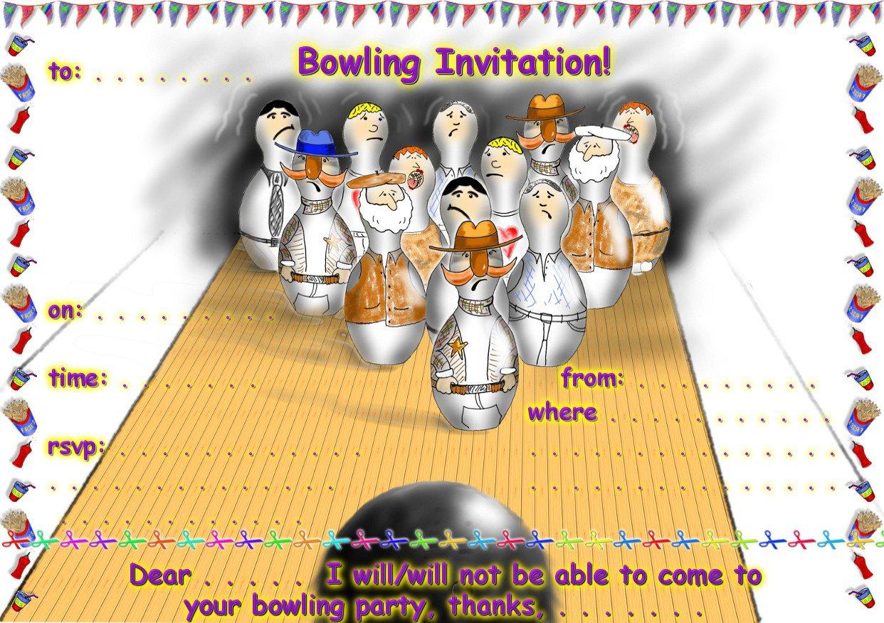 Birthday Invitations Printable Bowling