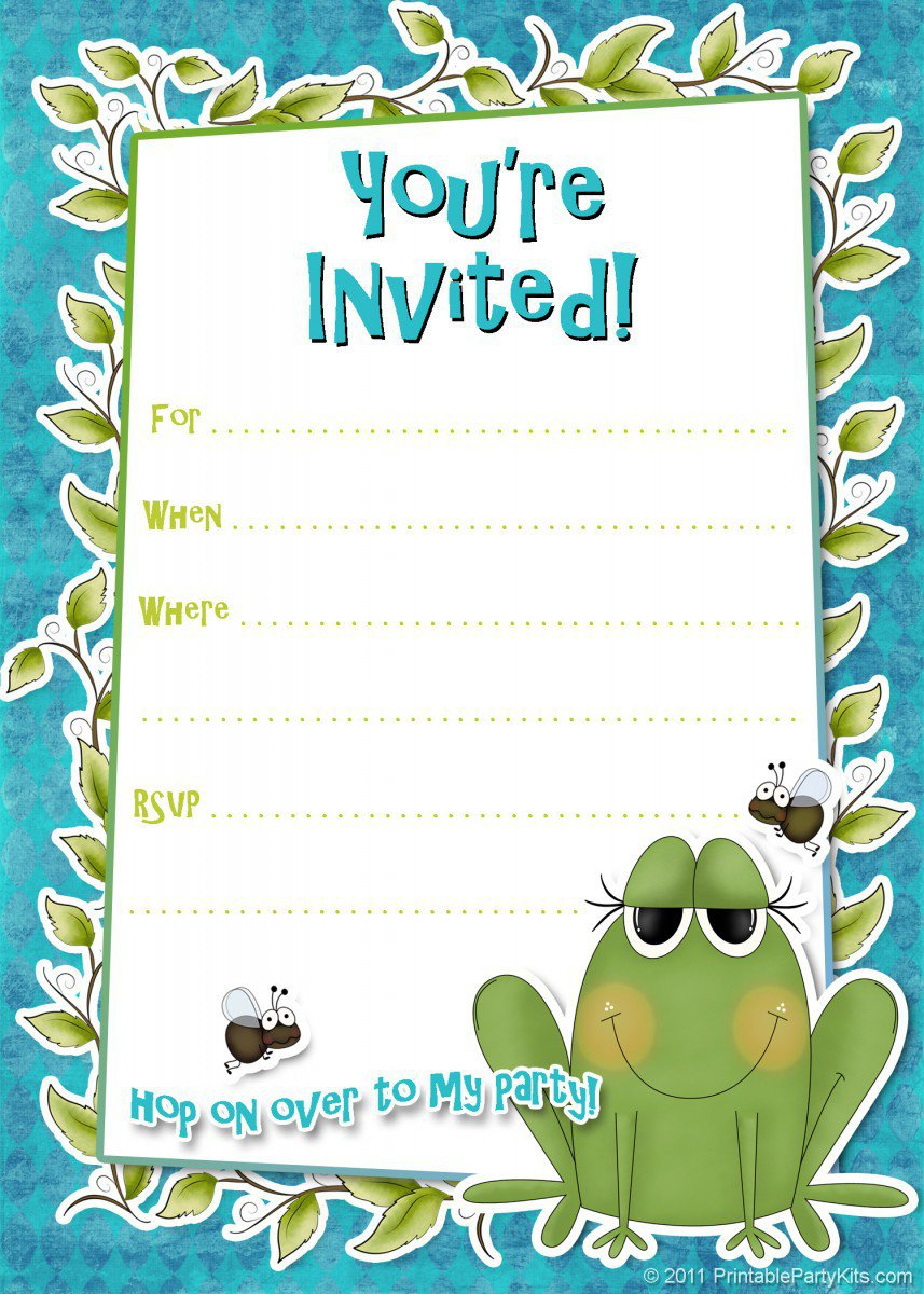 Birthday Party Invitation Templates Printable 2017