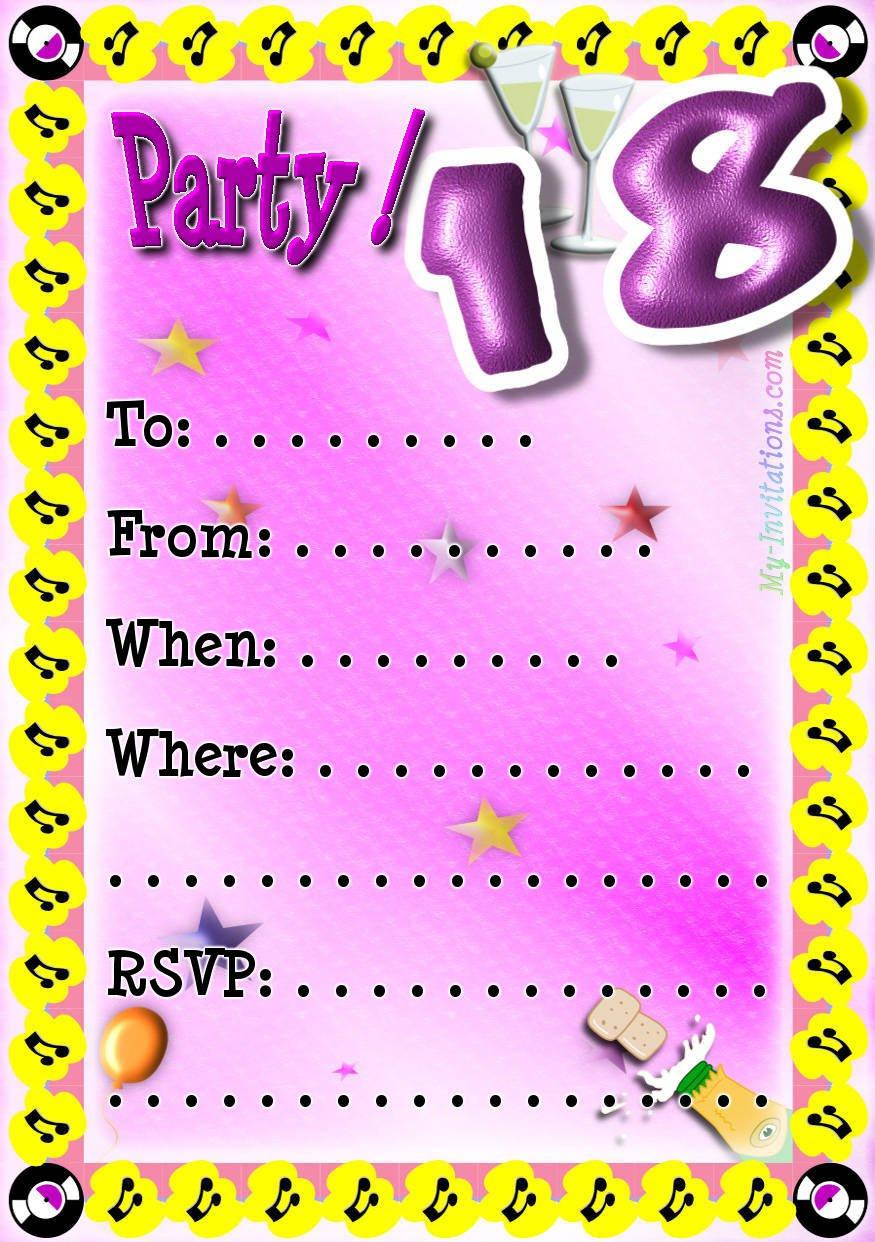 Birthday Party Invitations Free Printable 2016