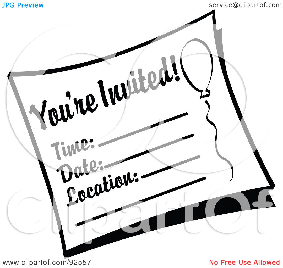 Birthday Party Invitations Printable Black And White