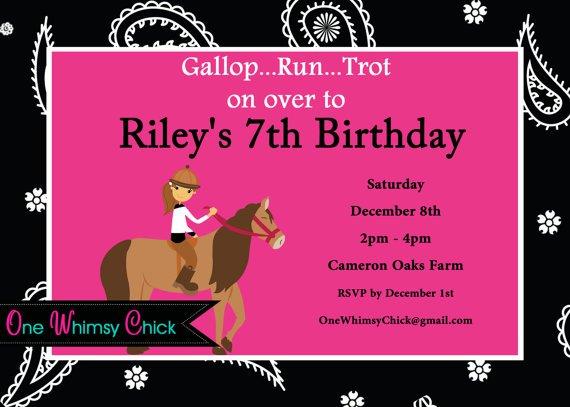 Birthday Party Invitations Printable Free Horses 2015