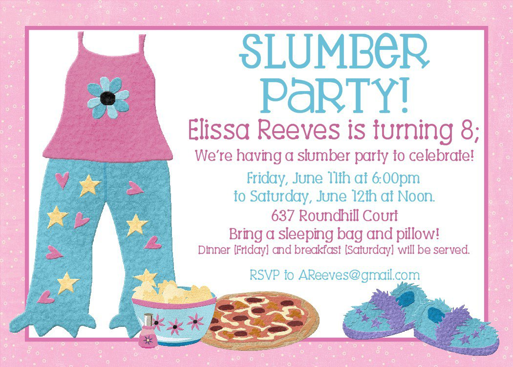 Birthday Slumber Party Invitations Free