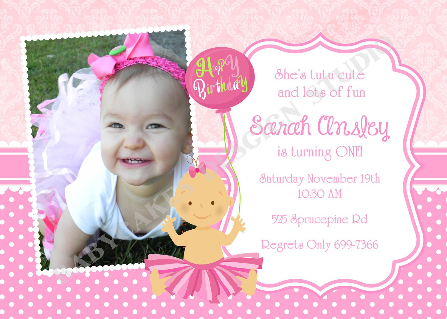 Create Printable Invitations For 1st Birthday Party