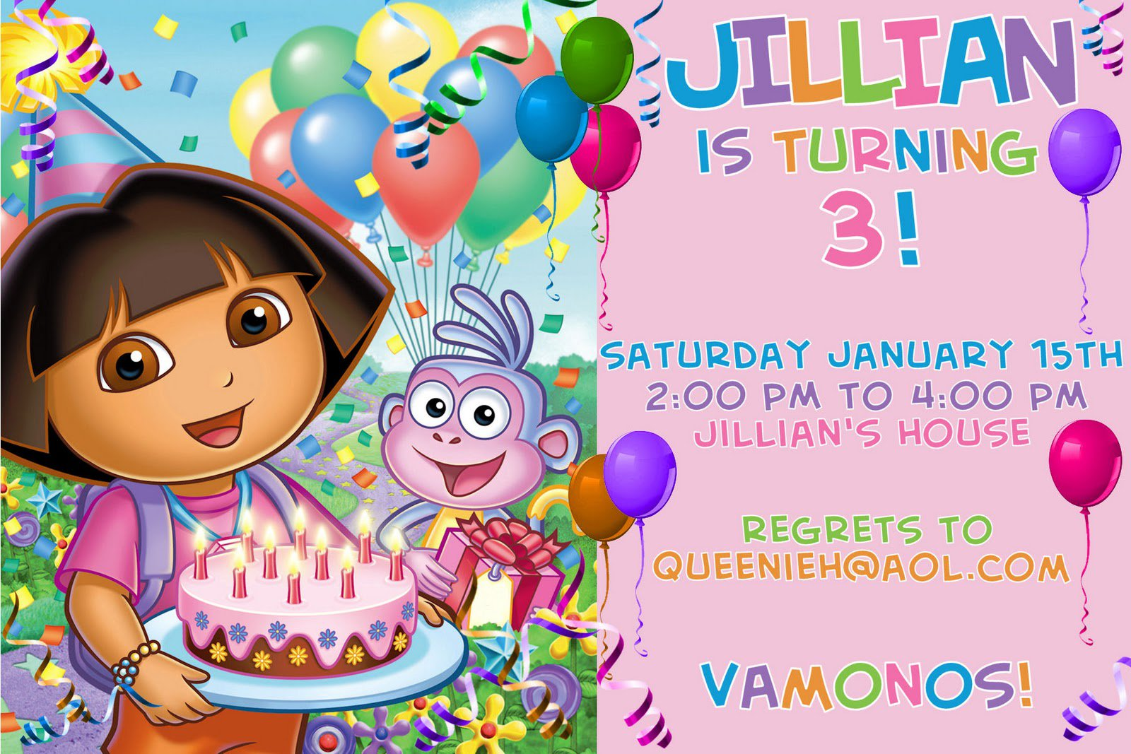 Dora Birthday Party Invitations