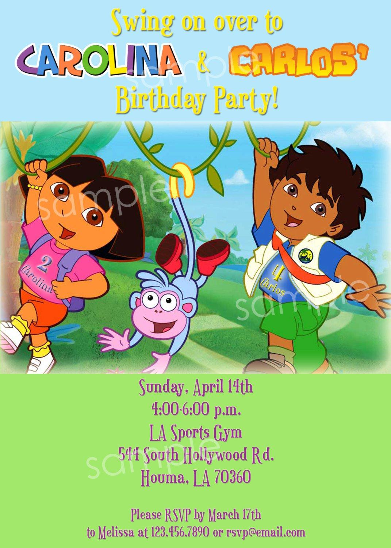 Dora Diego Printable Party Invitations