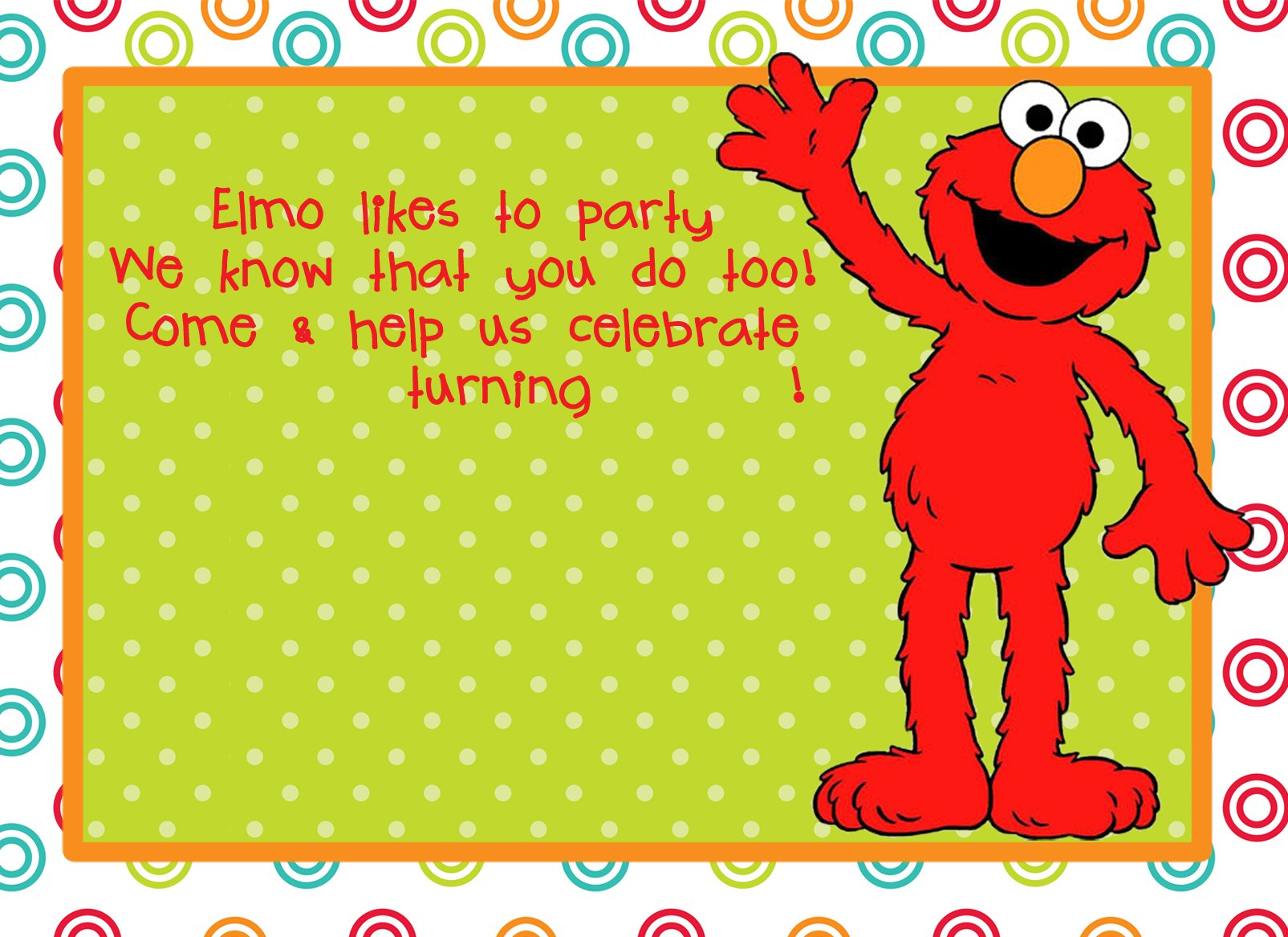 Elmo Party Invitations Printable