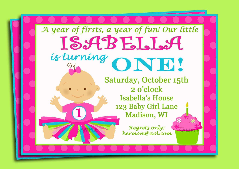 First Birthday Invitation Printable Cards