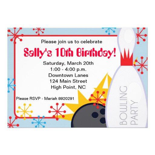 Free Bowling Birthday Invitations 2016