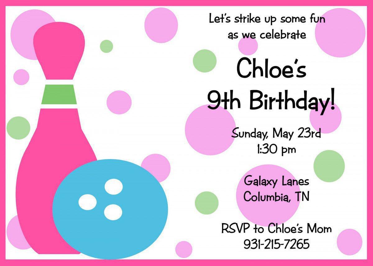 Free Bowling Birthday Invitations Printable 2016