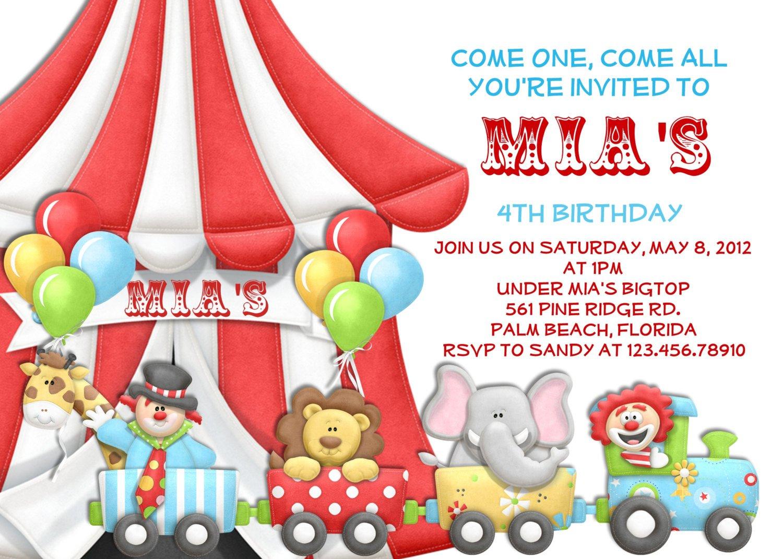 Free Circus Birthday Invitations Printables