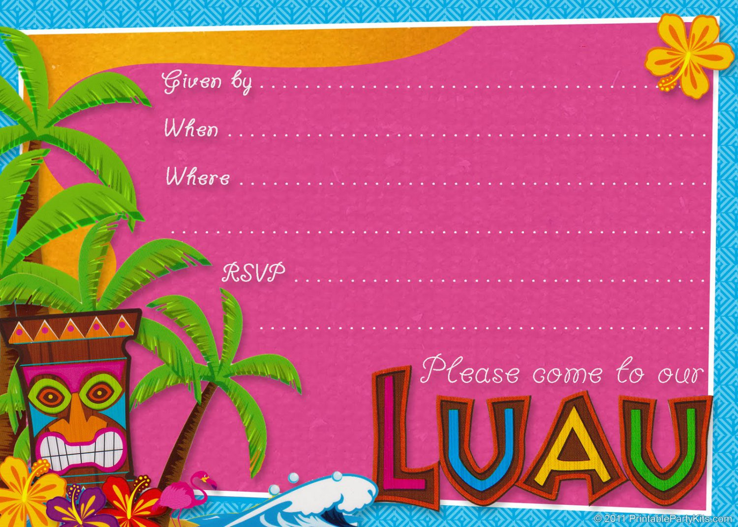 Free Hawaiian Luau Party Invitations Printable