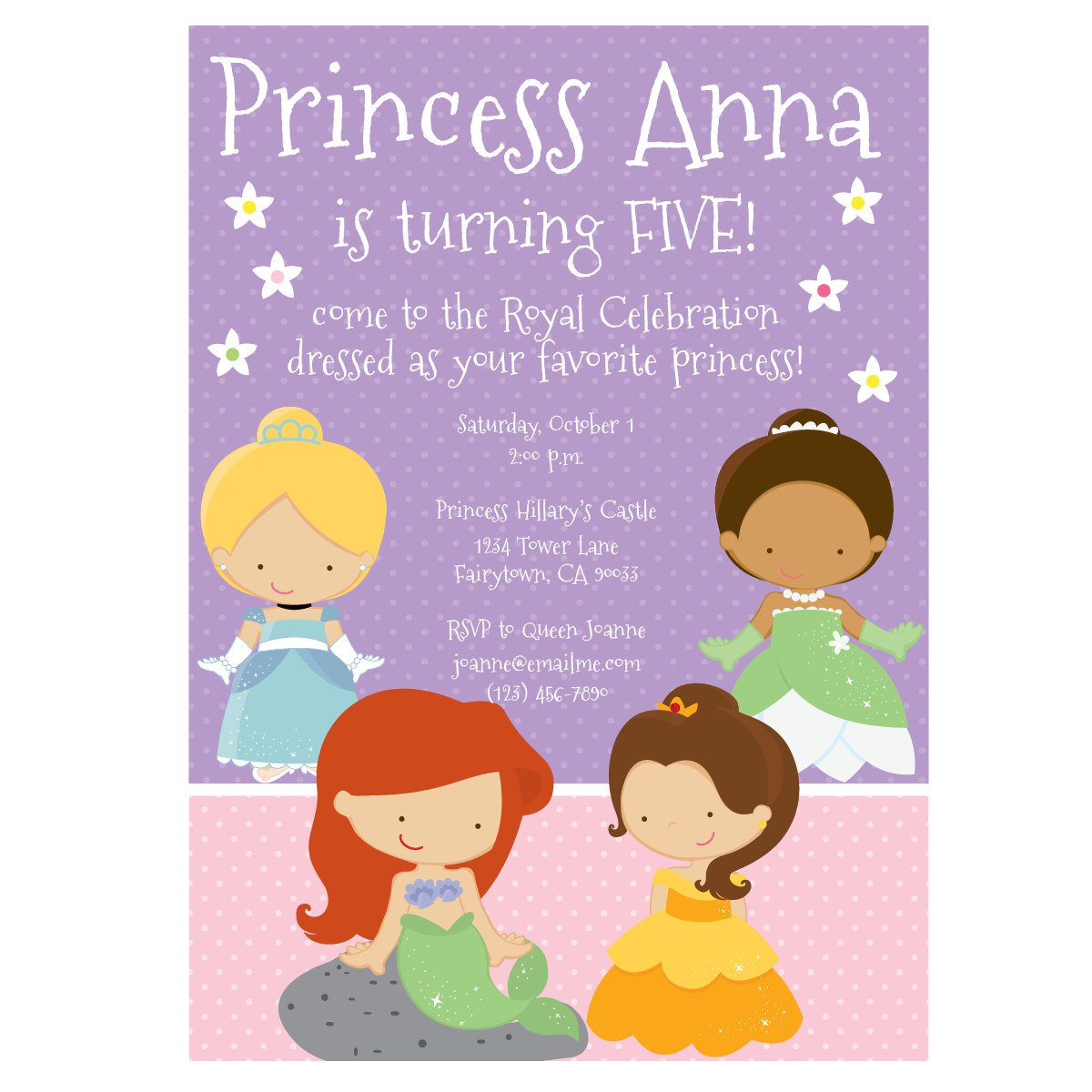Free Printable 1st Birthday Princess Invitations 2018