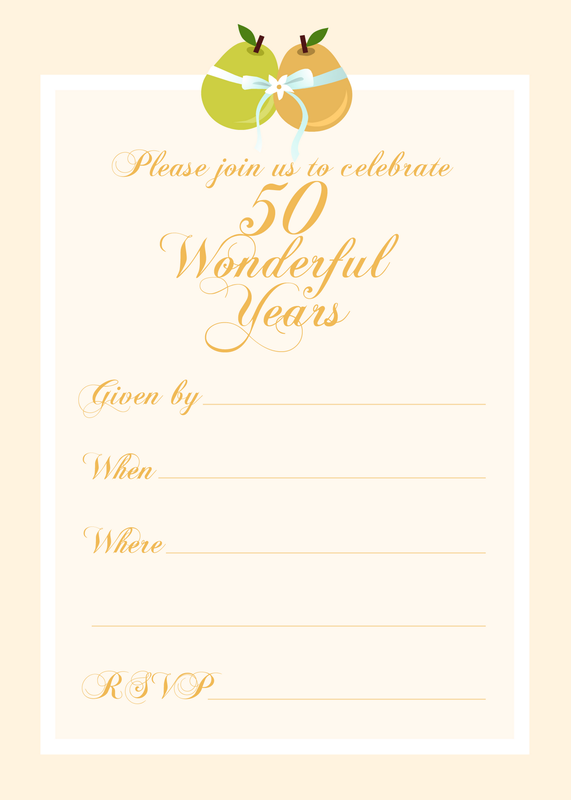 Free Printable 50th Birthday Party Invitation Templates 2017