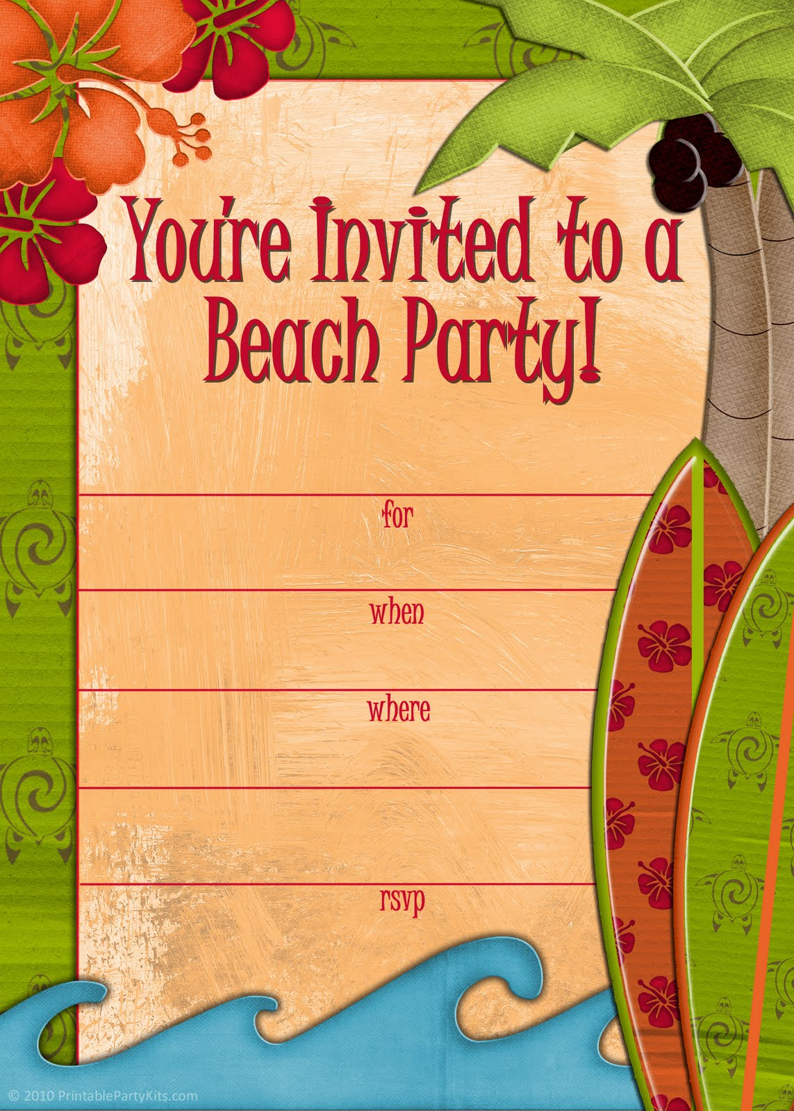 Free Printable Beach Themed Birthday Invitations