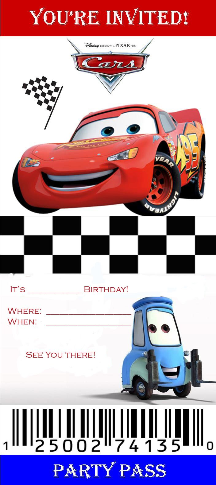 Free Printable Birthday Invitations Cars Disney