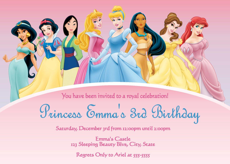 Free Printable Birthday Invitations Disney Princess