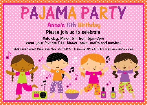Free Printable Birthday Invitations Slumber Party 2016