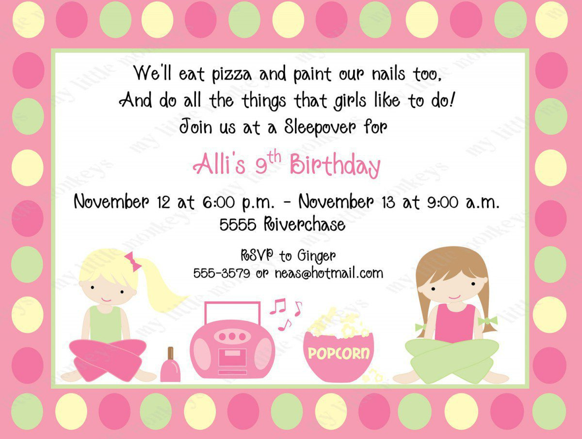 Free Printable Birthday Invitations Slumber Party 2018