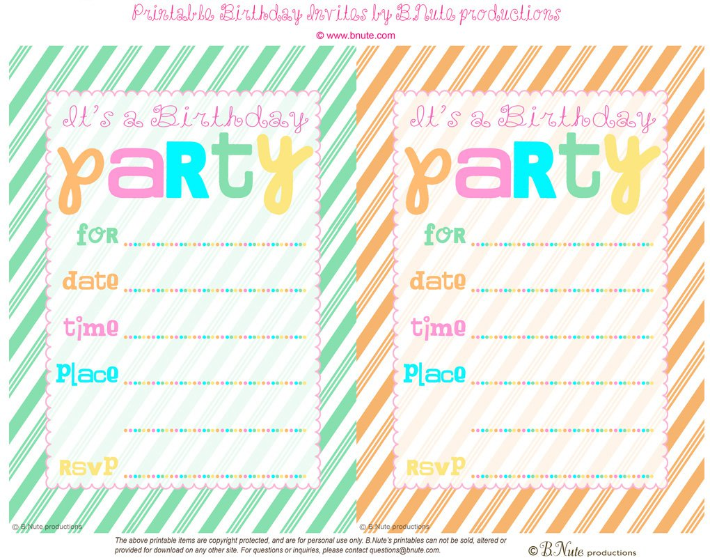 Free Printable Birthday Party Cards