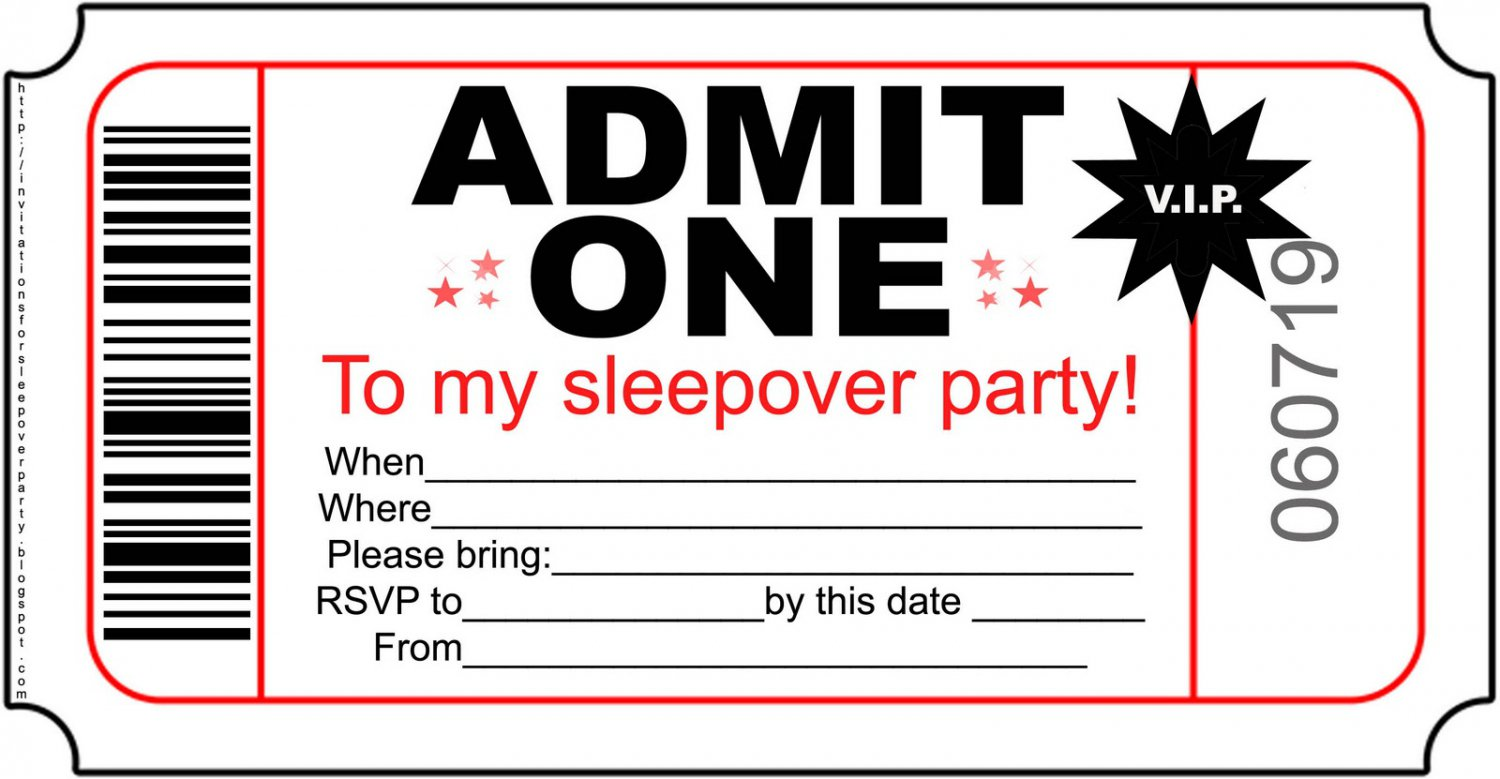 Free Printable Birthday Sleepover Invitations For Boys