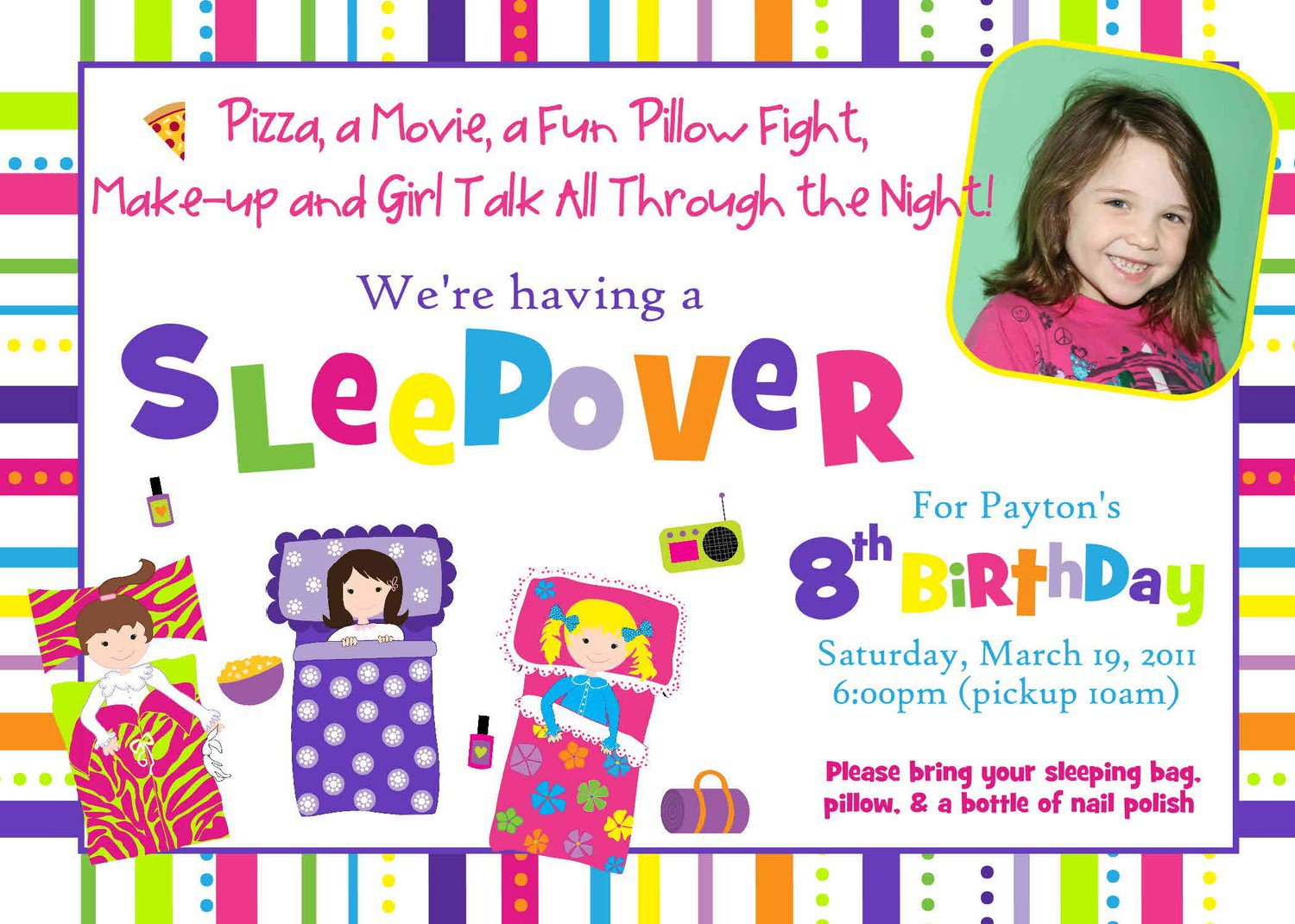 Free Printable Birthday Sleepover Party Invitations