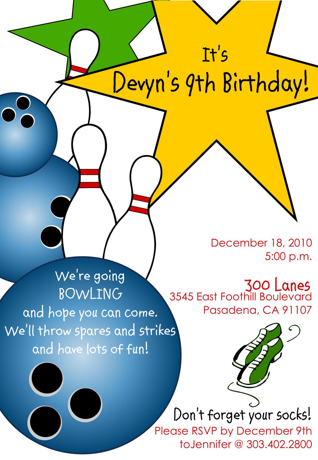 Free Printable Bowling Birthday Invitations 2017