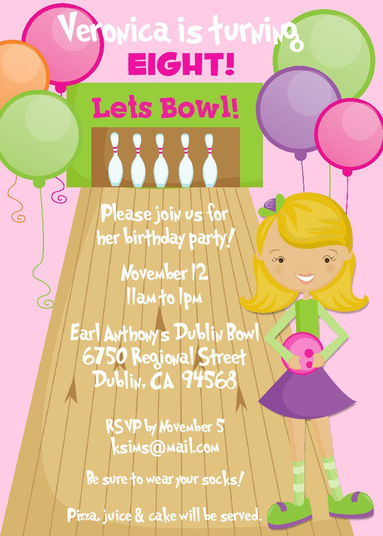 Printable Bowling Birthday Party Invitations For Kids