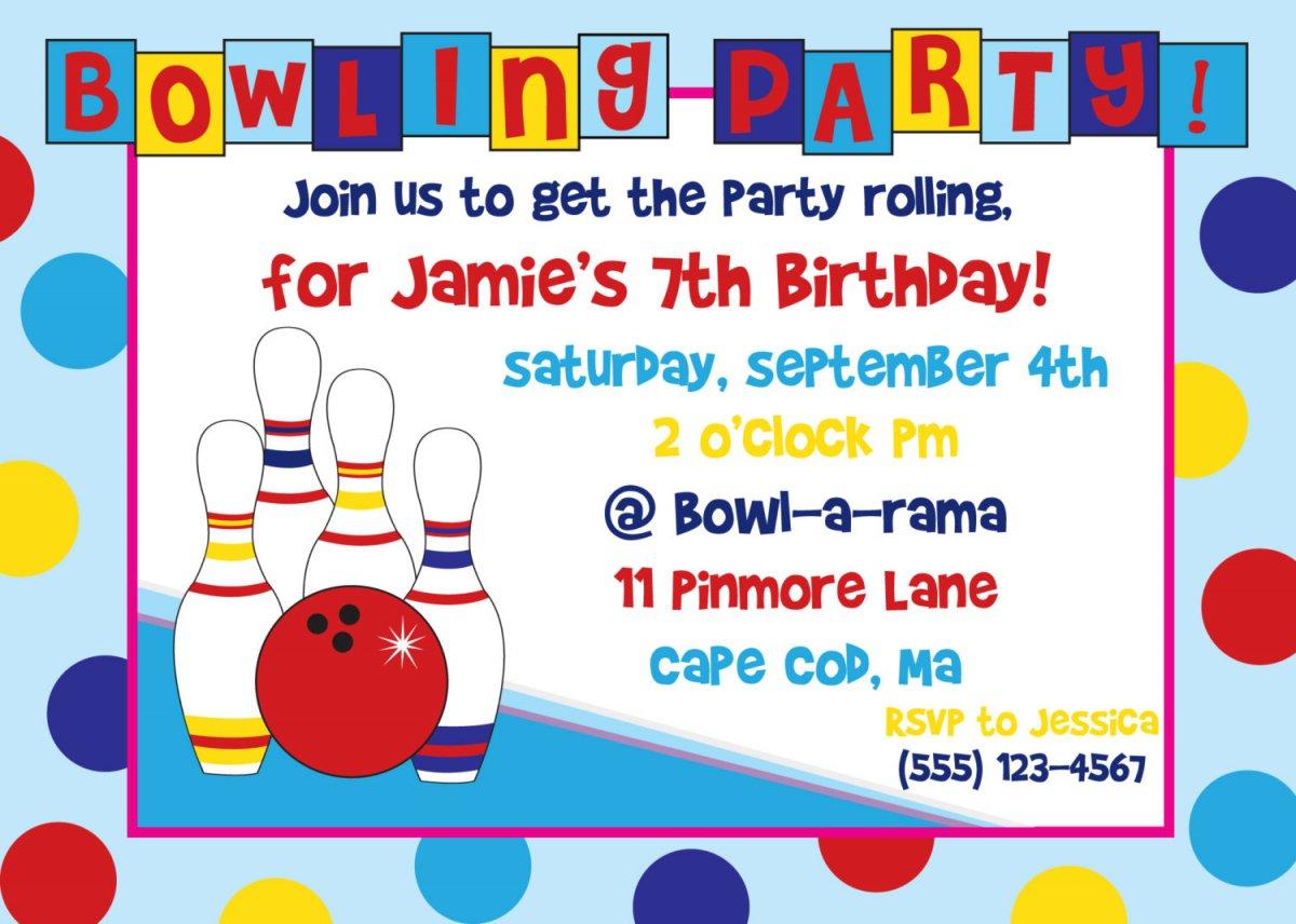 Free Printable Bowling Themed Birthday Invitations