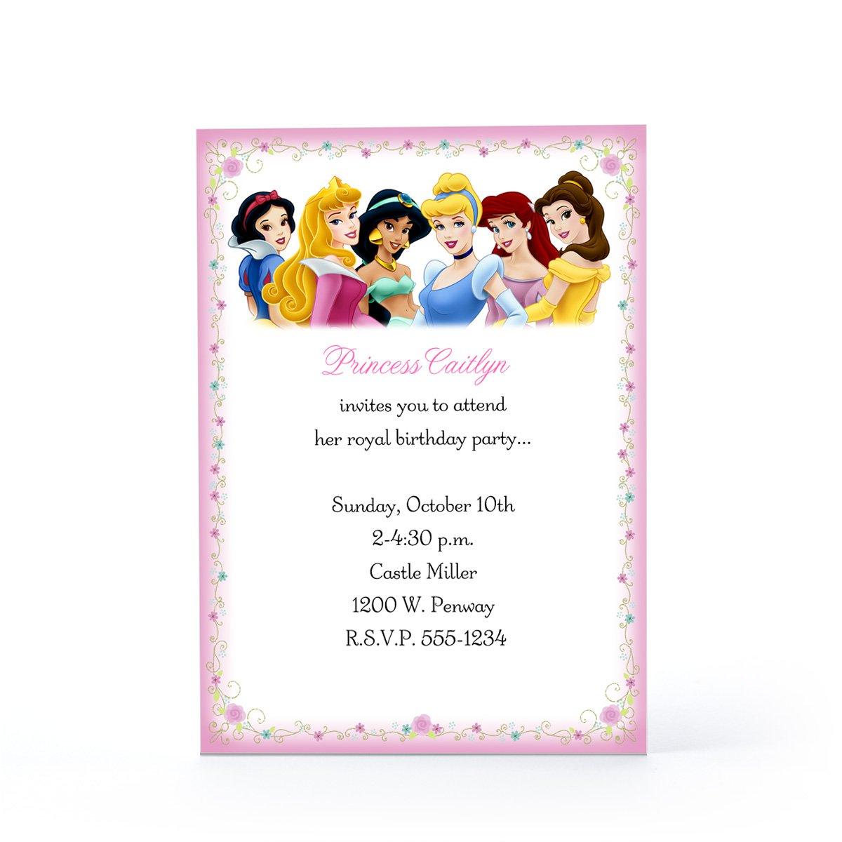 Free Printable Disney Princess Birthday Party Invitations