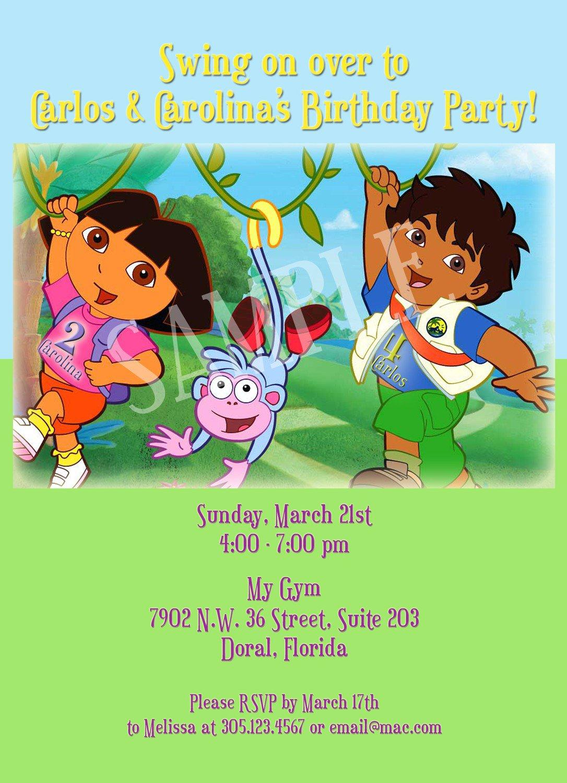Free Printable Dora And Diego Birthday Invitations
