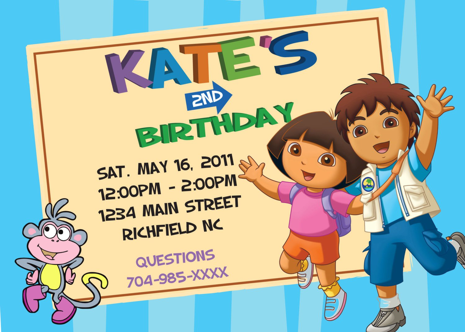 Free Printable Dora Diego Party Invitations
