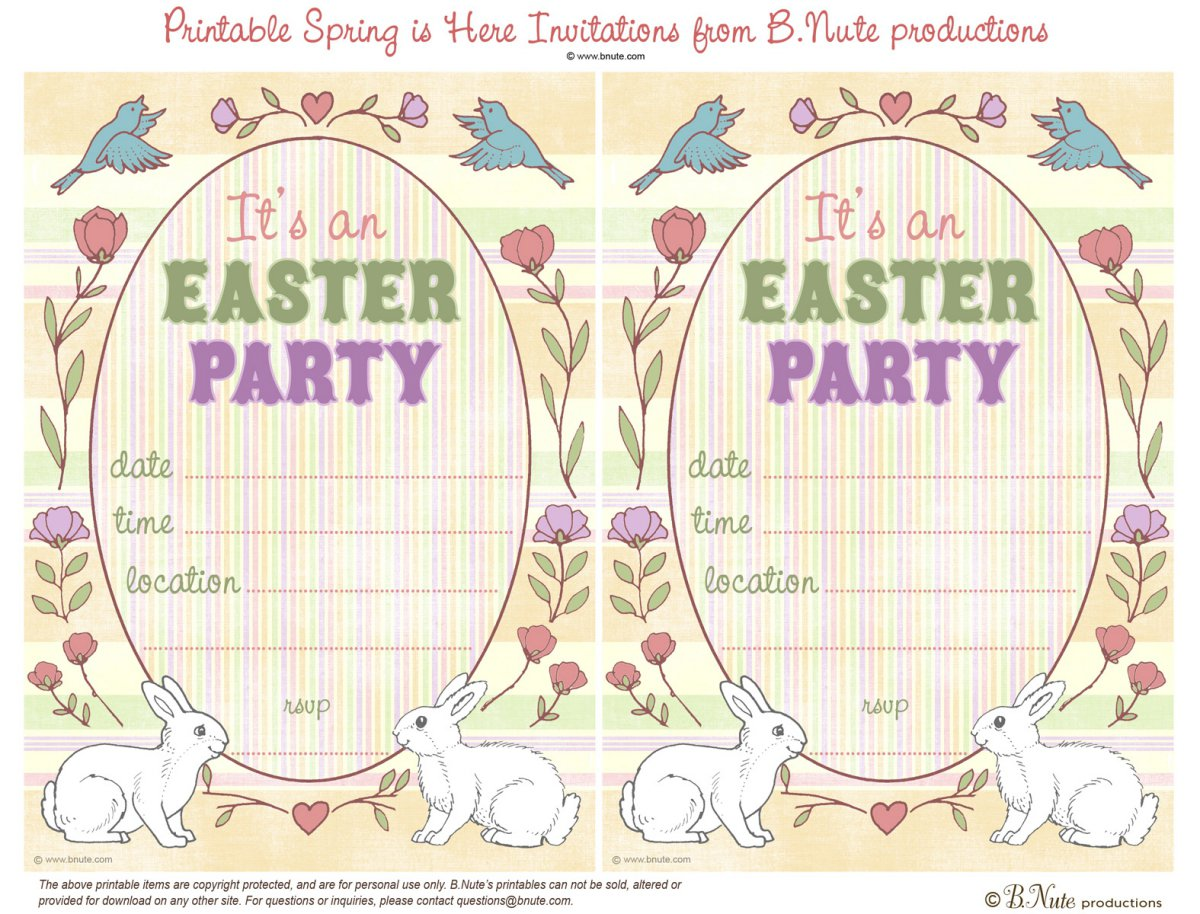 Free Printable Easter Invitations