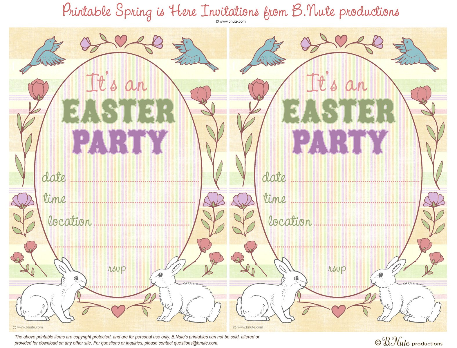 Free Printable Easter Invitations For Kids