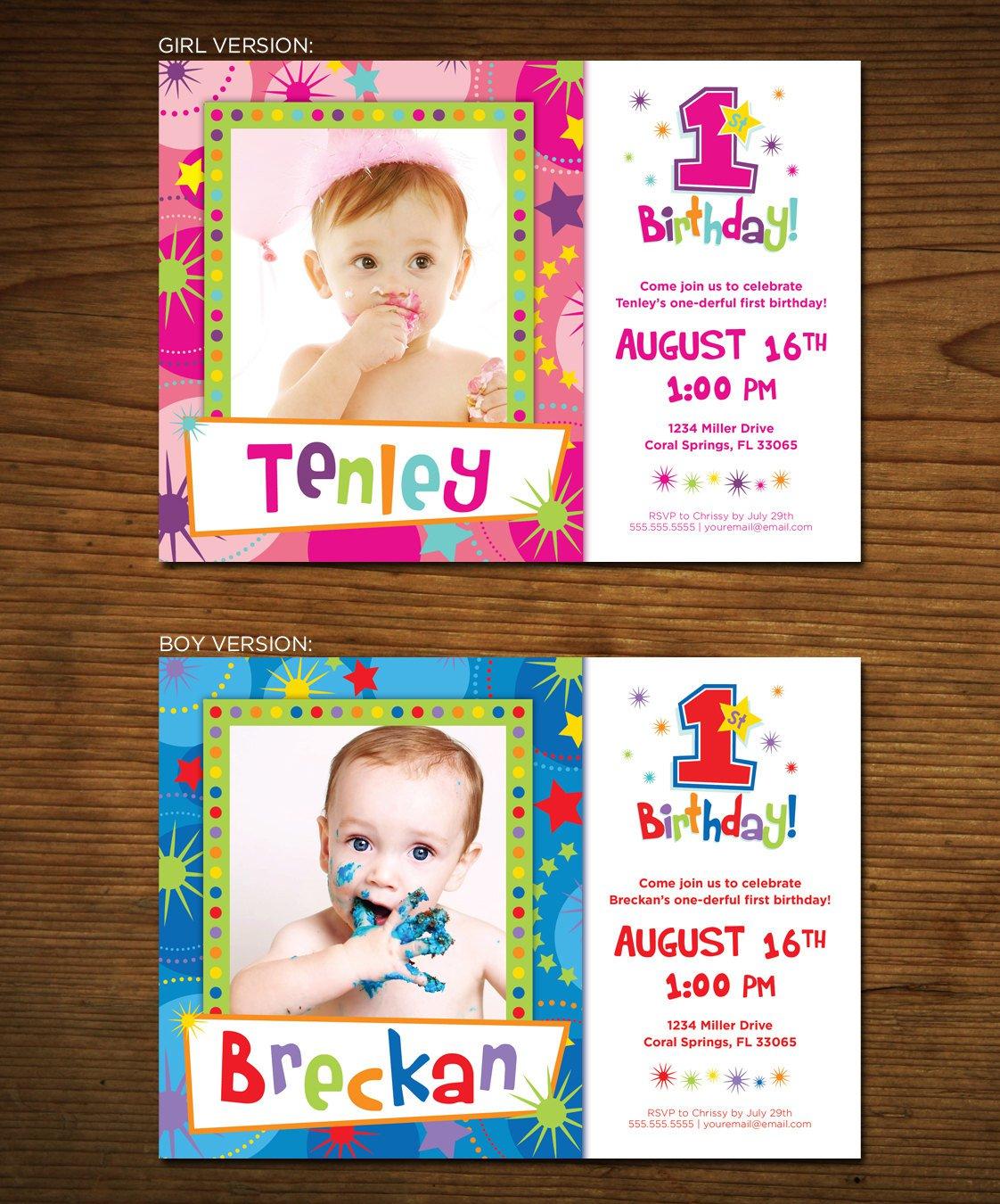 Free Printable First Birthday Invitation Cards