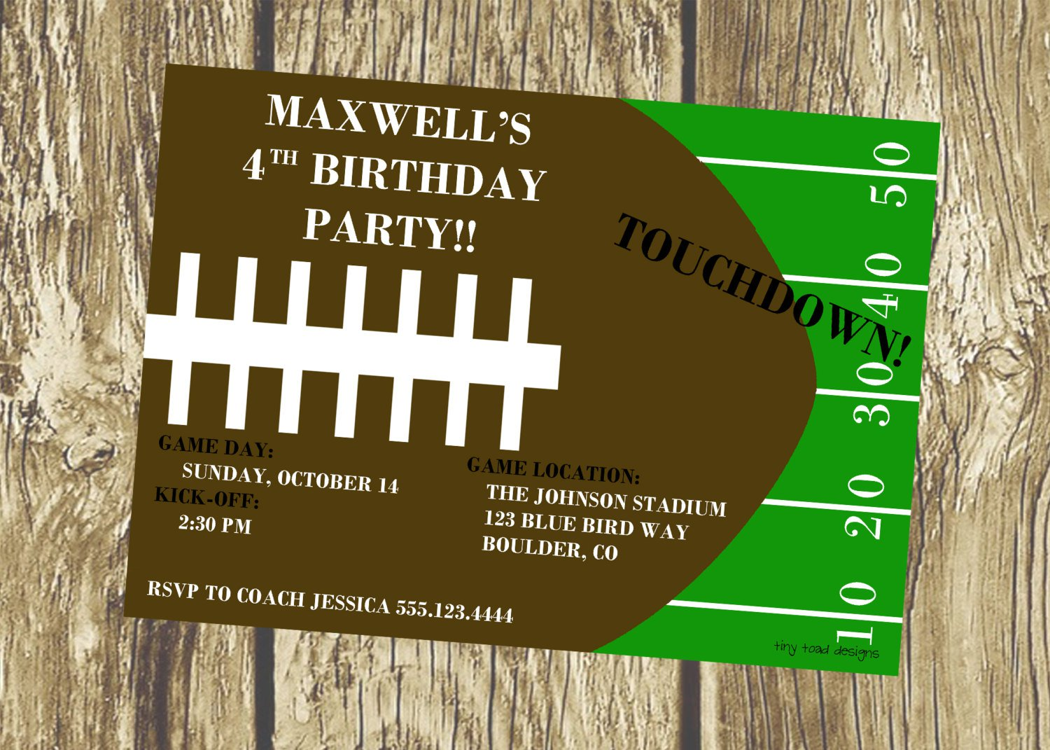 Free Printable Football Invitations For Birthday Party