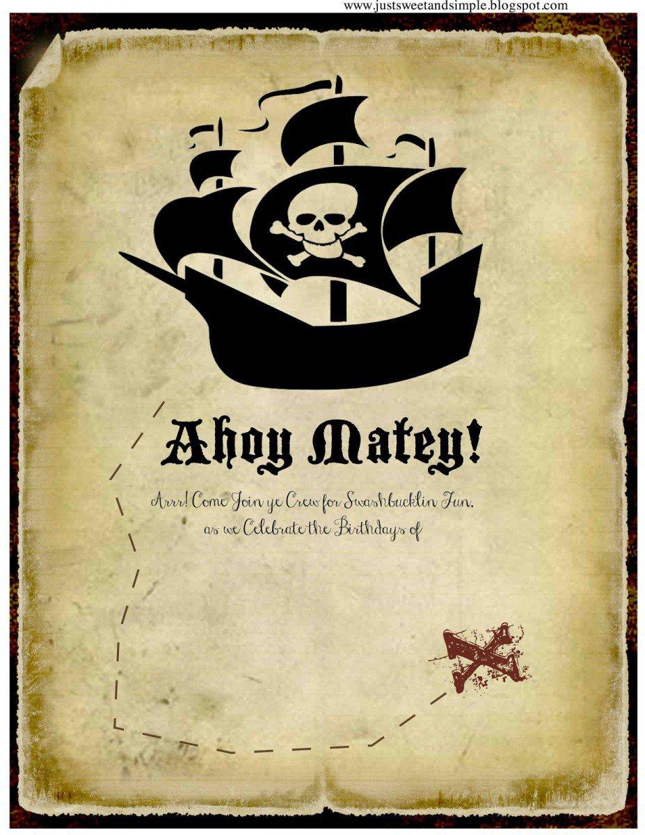 Free Printable Girl Pirate Invitations 2016