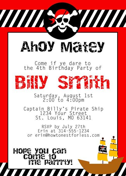 Free Printable Girl Pirate Invitations