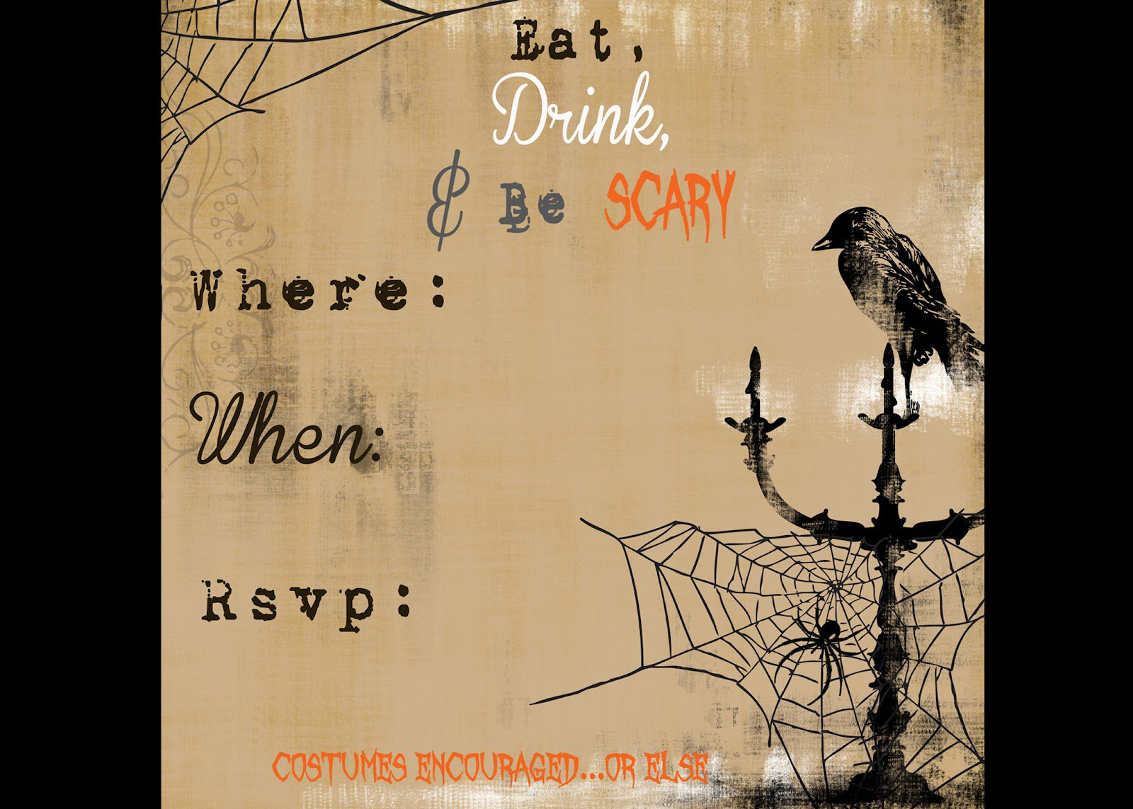 Free Printable Halloween Paper Invitations